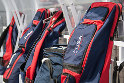 The USA team's stick bags during the Investec Hockey World League Semi Final 2013, the Quintin Hogg Memorial Sports Ground, University of Westminster, London, UK on 27 June 2013. Photo: Simon Parker