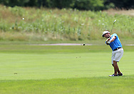 Jordan Elsen of Kenosha, Wisconsin drives the ball on the 3rd hole during the first round of the Greater Cedar Rapids Open held at Hunters Ridge Golf Course in Marion on Friday, July 22, 2011.