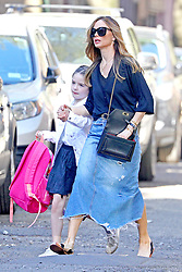 EXCLUSIVE: With her estranged husband, Harvey Weinstein out of the picture, Georgina Chapman shows she's actually a superwoman. Managing a career as the head of fashion label, Marchesa she is still being able to spend a lot of time with her kids. Here she is walking with daughter, India as they take off on a gorgeous spring day in New York. 02 May 2018 Pictured: Georgina Chapman, India Pearl Weinstein. Photo credit: MEGA TheMegaAgency.com +1 888 505 6342