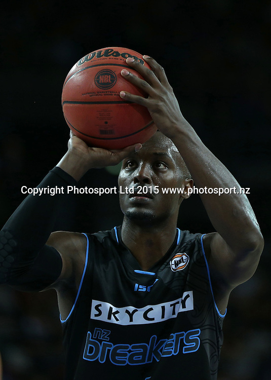 Breakers` Cedric Jackson takes a free throw in an ANBL Basketball Match, New Zealand Breakers v Townsville Crocodiles, Vector Arena, Auckland, New Zealand, Sunday, October 11, 2015. Copyright photo: David Rowland / www.photosport.nz