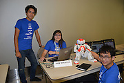 Sam Houston HS students show off their robot Sam at HISD's second annual Digital Learning Expo at Hattie Mae White Educational Support Center