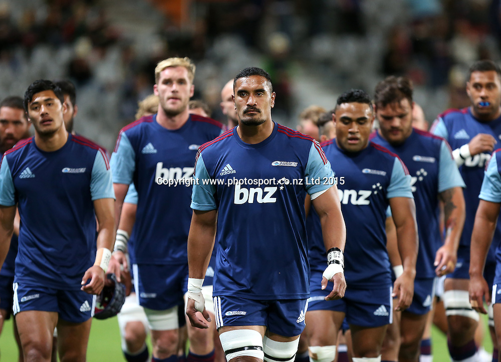 Blues captain Jerome Kaino leads the team off the field at the Super 15 rugby match between the Highlanders and the Blues at Forsyth Barr Stadium, Dunedin, Saturday, April 18, 2015. Photo: Dianne Manson / www.photosport.co.nz