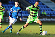 Forest Green Rovers Ethan Pinnock(16) runs forward during the FA Trophy match between Macclesfield Town and Forest Green Rovers at Moss Rose, Macclesfield, United Kingdom on 4 February 2017. Photo by Shane Healey.