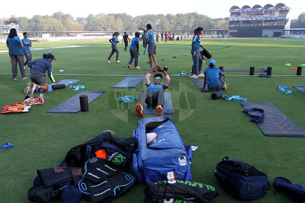 Indian players warm up before the start of the first women's one day International ( ODI ) match between India and Australia held at the Reliance Cricket Stadium in Vadodara, India on the 12th March 2018<br /> <br /> Photo by Vipin Pawar / BCCI / SPORTZPICS