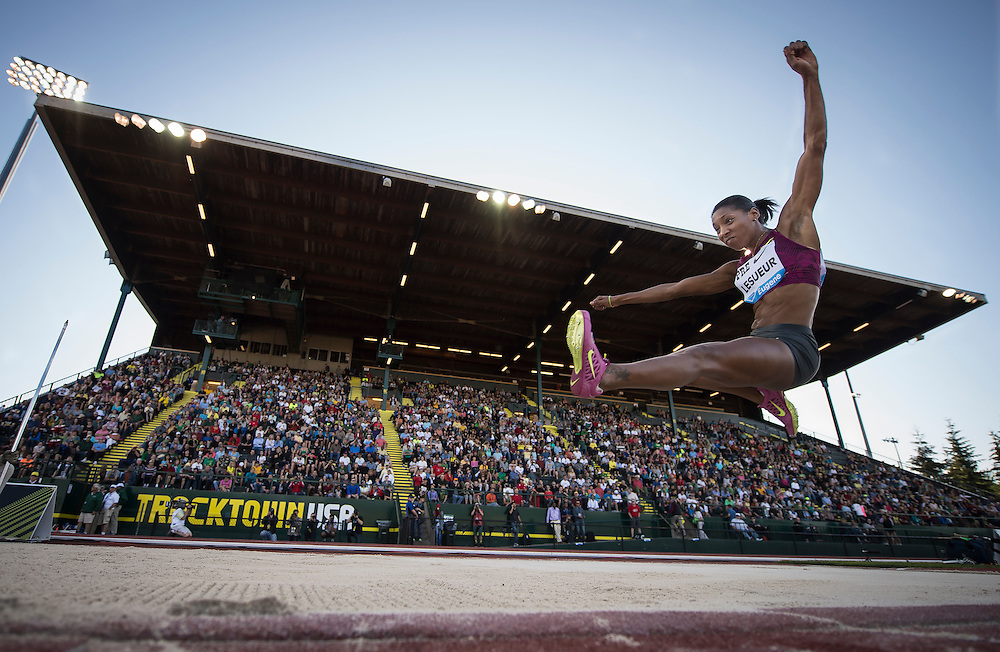 The IAAF Diamond League, Prefontaine Classic in Eugene, Oregon:  Eloyse Lesueur competes in the women's long jump.
