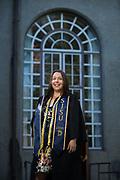 Tiana Khong poses for her graduation portrait at San Jose State University in San Jose, California, on May 23, 2017. (Stan Olszewski/SOSKIphoto)