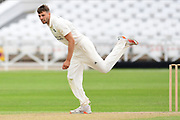 Tom Barber of Nottinghamshire bowling from the Pavillion end during the Bob Willis Trophy match between Nottinghamshire County Cricket Club and Derbyshire County Cricket Club at Trent Bridge, Nottingham, United Kingdon on 4 August 2020.