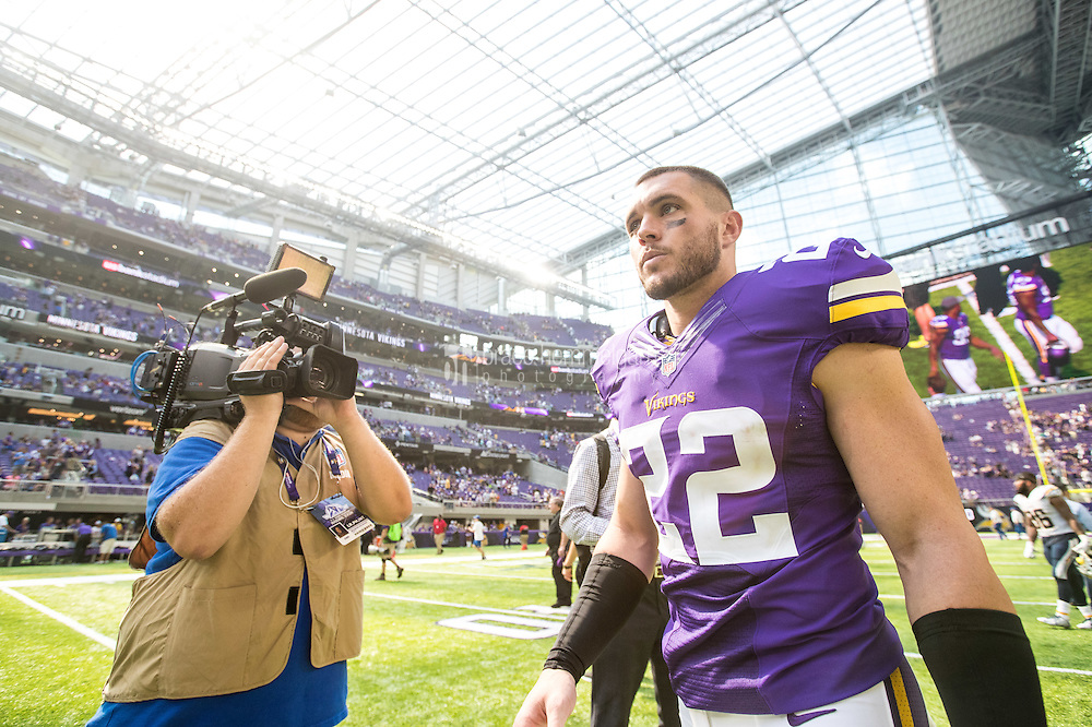 Aug 28, 2016; Minneapolis, MN, USA;  Minnesota Vikings safety Harrison Smith (22) looks on following a preseason game against the San Diego Chargers at U.S. Bank Stadium. The Vikings defeated the Chargers 23-10. Mandatory Credit: Brace Hemmelgarn-USA TODAY Sports