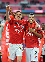 Bristol City's Joe Bryan celebrates with Bristol City's Korey Smith after beating Walsall 2-0 in the JPT Final - Photo mandatory by-line: Dougie Allward/JMP - Mobile: 07966 386802 - 22/03/2015 - SPORT - Football - London - Wembley Stadium - Bristol City v Walsall - Johnstone Paint Trophy Final