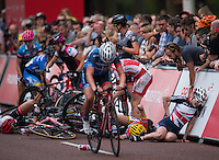 Riders crash on the final lap as they race down The Mall during the Prudential RideLondon Grand Prix Pro Women&rsquo;s Race, during Prudential RideLondon,  2015 Saturday 1st August, 2015. <br /> <br /> Prudential RideLondon is the world&rsquo;s greatest festival of cycling, involving 95,000+ cyclists &ndash; from Olympic champions to a free family fun ride - riding in five events over closed roads in London and Surrey over the weekend of 1st and 2nd August 2015. <br /> <br /> Photo: Jon Buckle for Prudential RideLondon<br /> <br /> See www.PrudentialRideLondon.co.uk for more.<br /> <br /> For further information: Penny Dain 07799 170433<br /> pennyd@ridelondon.co.uk