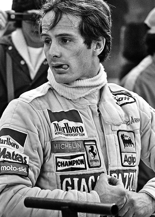 A relaxed Gilles Villeneuve prepares to win the 1979 US Grand Prix. He always said his job with Ferrari was to be the fastest in every practice session, in every qualifying session, through every corner, on every lap, through every lap of a race, and if he was, he would win. World championship titles meant nothing to him if he had to hold back. He was a Formula One driver and that meant being at 100-percent. <br />