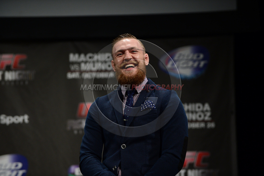 "MANCHESTER, ENGLAND, NOVEMBER 25, 2013: Conor McGregor is pictured taking part in a fan Q&A session ahead of the official weigh-in for ""UFC Fight Night 30: Machida vs. Munoz"" inside Mancheter Central Convention Center in Manchester, England (Martin McNeil for ESPN)"