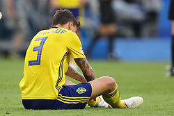 July 7, 2018 - Samara, Rússia - SAMARA, SA - 07.07.2018: SWEDEN VS ENGLAND - Victor Lindelof regrets Sweden'feat aft after tatch between Sweden and England for the quarquarter-finals of the 2018 World Cup held at the Samara Arena in Samara, Russia. (Credit Image: © Ricardo Moreira/Fotoarena via ZUMA Press)