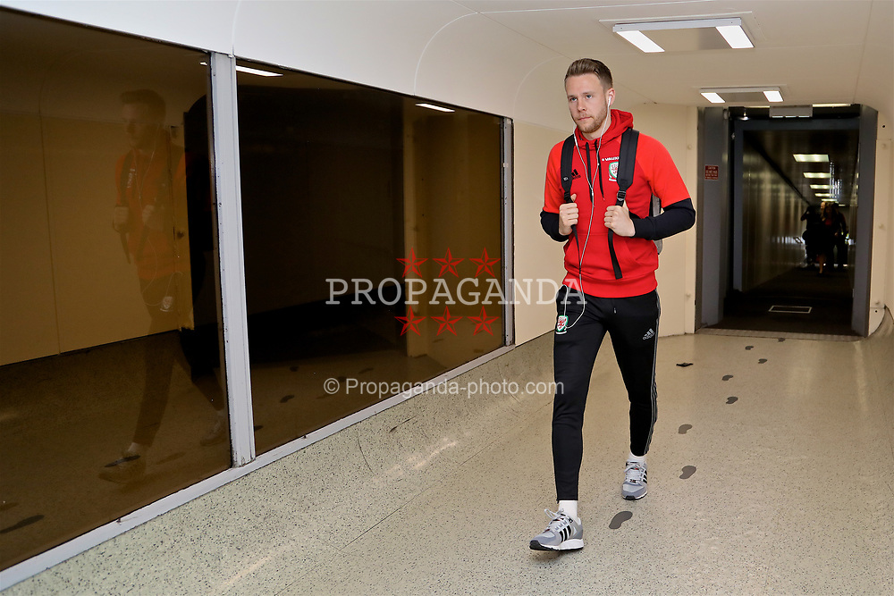 DUBLIN, REPUBLIC OF IRELAND - Thursday, March 23, 2017: Wales' Chris Gunter arrives at Dublin Airport ahead of the 2018 FIFA World Cup Qualifying Group D match against Republic of Ireland. (Pic by David Rawcliffe/Propaganda)