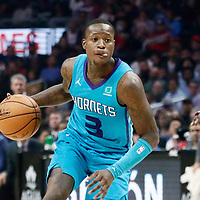 LOS ANGELES, CA - OCT 28: Terry Rozier (3) of the Charlotte Hornets dribbles during a game on October 28, 2019 at the Staples Center, in Los Angeles, California.