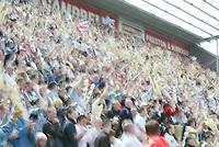 Photo: Chris Brunskill, Digitalsport<br />  Preston North End v Derby County. Play-Off Semi Final 1st Leg. 15/05/2005. Preston fans cheer on their team.