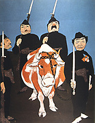 Italy, 1926.  Anti-fascist cartoon showing a cow being arrested for not giving Chianti.