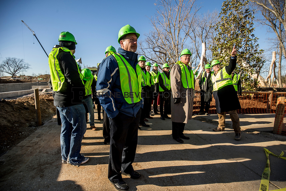 1/12/18 11:18:15 AM -- Halliburton CEO Jeff Miller and George Kaiser visit the Gathering Place for a press conference announcing Halliburton's support for the park. <br /> <br /> Photo by Shane Bevel