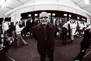 NEW YORK - FEBRUARY 07: Max Azria poses backstage during Olympus Fashion Week at Bryant Park February 7, 2005 in New York City.  (Photo by Matthew Peyton)