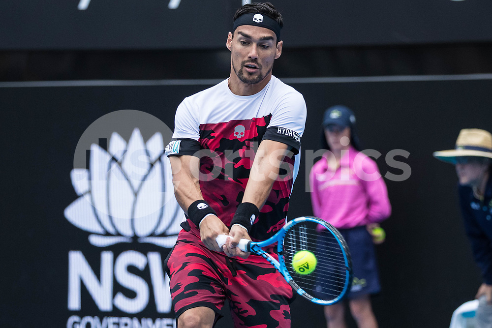 Fabio Fognini of Italy playing Adrian Mannarino of France in the Quarter Finals during the Sydney International 2018 at Sydney Olympic Park Tennis Centre, Sydney, Australia on 11 January 2018. Photo by Peter Dovgan.