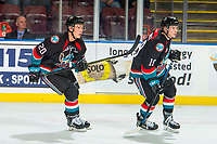 KELOWNA, CANADA - OCTOBER 3: Conner Bruggen-Cate #20 and Ethan Ernst #19 of the Kelowna Rockets skate against the Vancouver Giants  on October 3, 2018 at Prospera Place in Kelowna, British Columbia, Canada.  (Photo by Marissa Baecker/Shoot the Breeze)  *** Local Caption ***