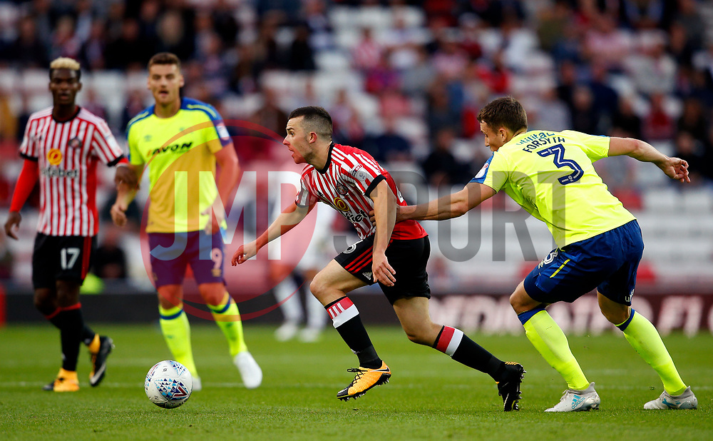 George Honeyman of Sunderland and Craig Forsyth of Derby County - Mandatory by-line: Matt McNulty/JMP - 04/08/2017 - FOOTBALL - Stadium of Light - Sunderland, England - Sunderland v Derby County - Sky Bet Championship