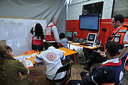 Israeli firefighter's command post during a fire drill in Haifa