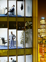 Business people and surgeon in offices view from building exterior