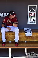 SCOTTSDALE, AZ - FEBRUARY 25:  Jake Lamb #22 of the Arizona Diamondbacks sits in the dugout prior to the spring training game against the Colorado Rockies at Salt River Fields at Talking Stick on February 25, 2017 in Scottsdale, Arizona.  (Photo by Jennifer Stewart/Getty Images)