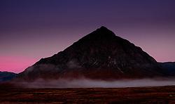 Buachaille Etive M&ograve;r just before dawn on a cold autumn morning.  Rannoch Moor, Highlands of Scotland.<br /> <br /> (c) Andrew Wilson | Edinburgh Elite media