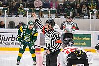 2019-10-02 | Umeå, Sweden: Domare Referee Peter Lyth start the game in HockeyAllsvenskan between Björklöven and Vita Hästen at A3 Arena ( Photo by: Michael Lundström | Swe Press Photo )<br /> <br /> Keywords: Umeå, Hockey, HockeyAllsvenskan, A3 Arena, Björklöven, Vita Hästen, hockey, icehockey