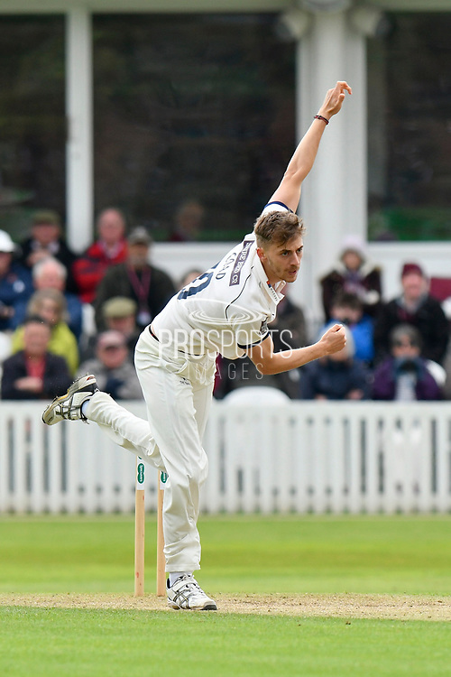 Ben Coad of Yorkshire bowling during the third day of the Specsavers County Champ Div 1 match between Somerset County Cricket Club and Yorkshire County Cricket Club at the Cooper Associates County Ground, Taunton, United Kingdom on 29 April 2018. Picture by Graham Hunt.