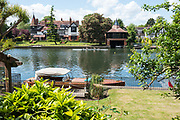 Maidenhead. Berkshire. United Kingdom. General view, as a crew moves up towards the start background, Riverside residences  on the course of the 2017 Maidenhead Junior Regatta  River Thames. <br /> <br /> [©Peter SPURRIER/Intersport Images] Sunday. 14.05.2017