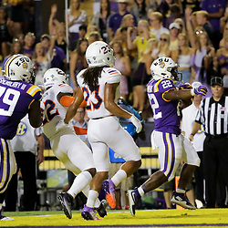 Sep 14, 2019; Baton Rouge, LA, USA; LSU Tigers running back Clyde Edwards-Helaire (22) runs for a touchdown against the Northwestern State Demons during the second quarter at Tiger Stadium. Mandatory Credit: Derick E. Hingle-USA TODAY Sports