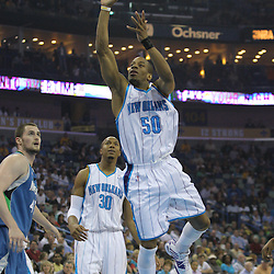 08 February 2009:  New Orleans Hornets guard Antonio Daniels (50) shoots over the Minnesota Timberwolves defense during a NBA game between the Minnesota Timberwolves and the New Orleans Hornets at the New Orleans Arena in New Orleans, LA.