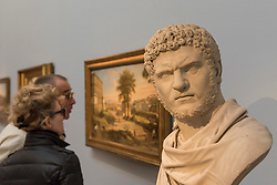 "© Licensed to London News Pictures. 01/12/2017. London, UK.  ""Bust of Caracalla"", 1762, by Francis Harwood, (Est.  GBP80-120k).  Preview of ""Masters of Light"", Sotheby's Old Masters Sculpture Sale which will take place on 5 December at Sotheby's, New Bond Street. Photo credit: Stephen Chung/LNP"