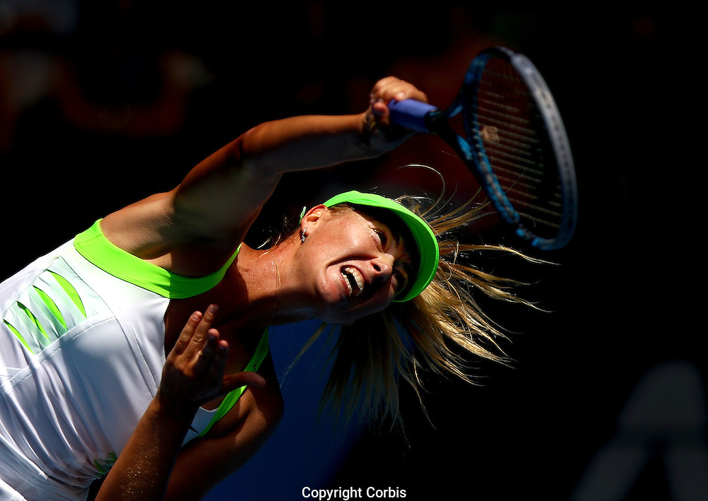 MELBOURNE, AUSTRALIA - JANUARY 19:  Maria Sharapova of Russia defeated Jamie Hampton of the USA during day four of the Australian Open of Tennis.  (Photo by Marianna Massey/Marianna Massey)