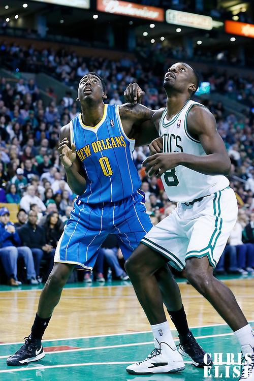 16 January 2013: New Orleans Hornets small forward Al-Farouq Aminu (0) vies for the rebound with Boston Celtics power forward Jeff Green (8) during the New Orleans Hornets 90-78 victory over the Boston Celtics at the TD Garden, Boston, Massachusetts, USA.