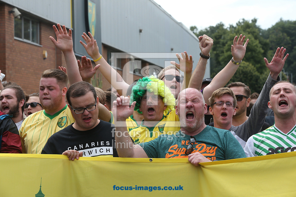 Norwich fans march from the City centre to the ground with their flags in an attempt to increase the atmosphere at home matches before the Sky Bet Championship match at Carrow Road, Norwich<br /> Picture by Paul Chesterton/Focus Images Ltd +44 7904 640267<br /> 13/08/2017