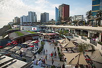 Lima, Peru- March 22, 2015: Shoppers flock to the Larcomar, a shapping mall that overlooks the ocean from Lima's coastal bluffs. The mall is located on El Malecón, a beautiful six-mile long promenade with manicured parks and ocean views. CREDIT: Chris Carmichael for The New York Times