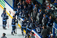 PENTICTON, CANADA - SEPTEMBER 9: The Winnipeg Jets bench on September 9, 2017 at the South Okanagan Event Centre in Penticton, British Columbia, Canada.  (Photo by Marissa Baecker/Shoot the Breeze)  *** Local Caption ***