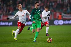 14.11.2016, Stadion Miejski, Wroclaw, POL, Testspiel, Polen vs Slowenien, im Bild Lukasz Teodorczyk (Polska), Miral Samardzic (Slowenia) // during the international friendly football match between Poland vs Slovenia at the Stadion Miejski in Wroclaw, Poland on 2016/11/14. EXPA Pictures © 2016, PhotoCredit: EXPA/ Newspix/ Lukasz Skwiot<br /> <br /> *****ATTENTION - for AUT, SLO, CRO, SRB, BIH, MAZ, TUR, SUI, SWE, ITA only*****