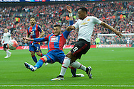 Anthony Martial of Manchester United gets his cross past Joel Ward of Crystal Palace during the FA Cup Final at Wembley Stadium, London<br /> Picture by Alan Stanford/Focus Images Ltd +44 7915 056117<br /> 21/05/2016