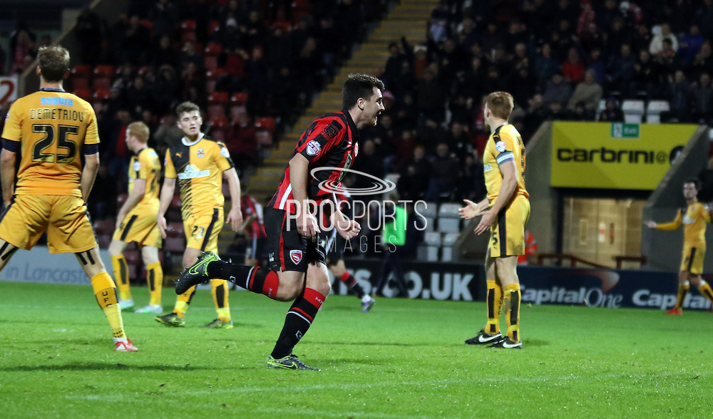 Peter Murphy celebrates during the Sky Bet League 2 match between Morecambe and Cambridge United at the Globe Arena, Morecambe, England on 24 November 2015. Photo by Pete Burns.