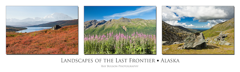 Triptych of Denali National Park, Eagle River Valley, and Hatcher Pass in Alaska.