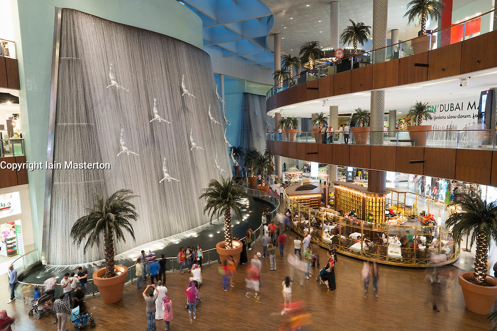 View of interior of Dubai Mall with waterfall feature in United Arab Emirates