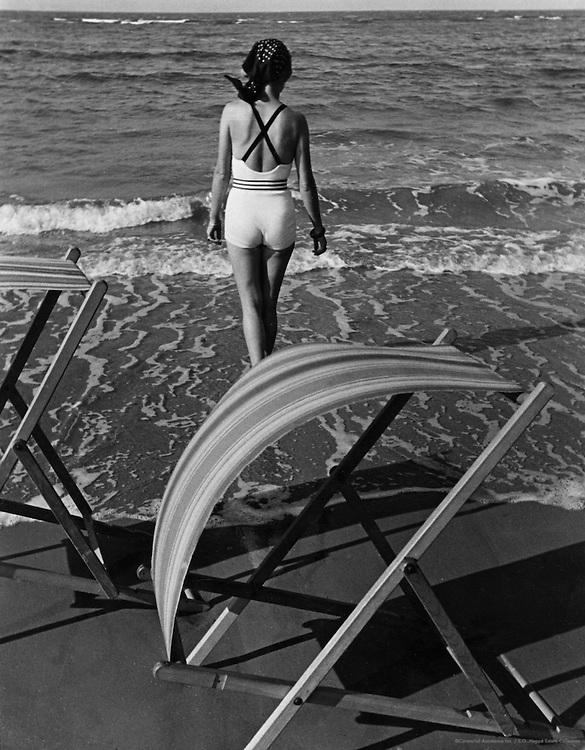 Bathing girl with deckchair, Bondi Beach, Sydney, Australia, 1930
