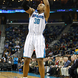 February 7, 2011; New Orleans, LA, USA; New Orleans Hornets power forward David West (30) shoots against the Minnesota Timberwolves during the first quarter at the New Orleans Arena.   Mandatory Credit: Derick E. Hingle