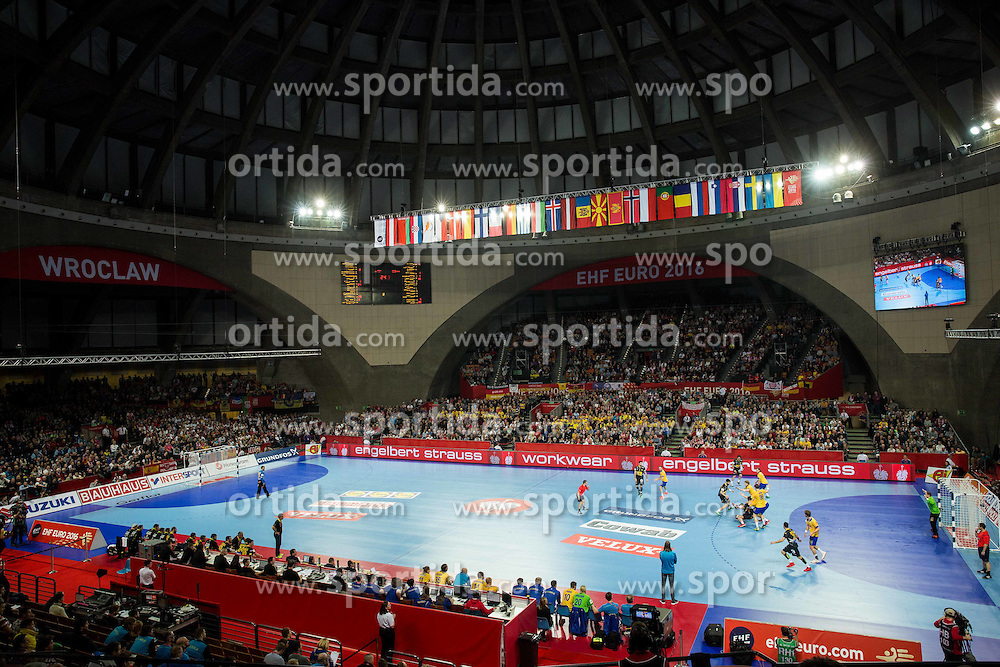 Arena during handball match between National teams of Spain and Sweden on Day 6 in Preliminary Round of Men's EHF EURO 2016, on January 20, 2016 in Centennial Hall, Wroclaw, Poland. Photo by Vid Ponikvar / Sportida