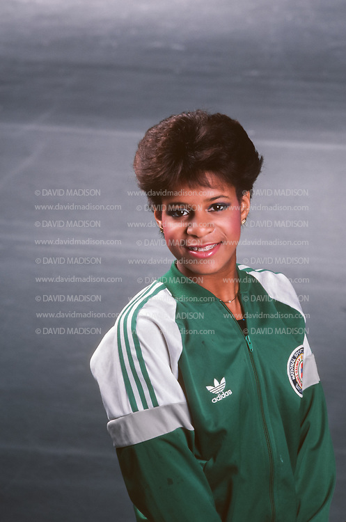 REDWOOD CITY, CA -  OCTOBER 1985:  Debi Thomas of the United States poses during a portrait session in October 1985 at Redwood City Ice Lodge in Redwood City, California. (Photo by David Madison/Getty Images) *** Local Caption *** Debi Thomas